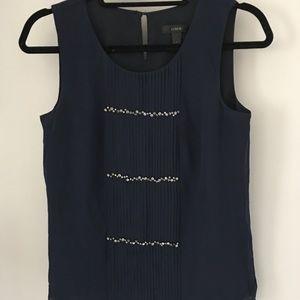 Sleeveless navy blue silk top